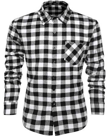 Multi Vestir Camisa Larga De Con Casual Botones Camisas Tela Escocesa Manga Coofandy colores Men 7w6qzz