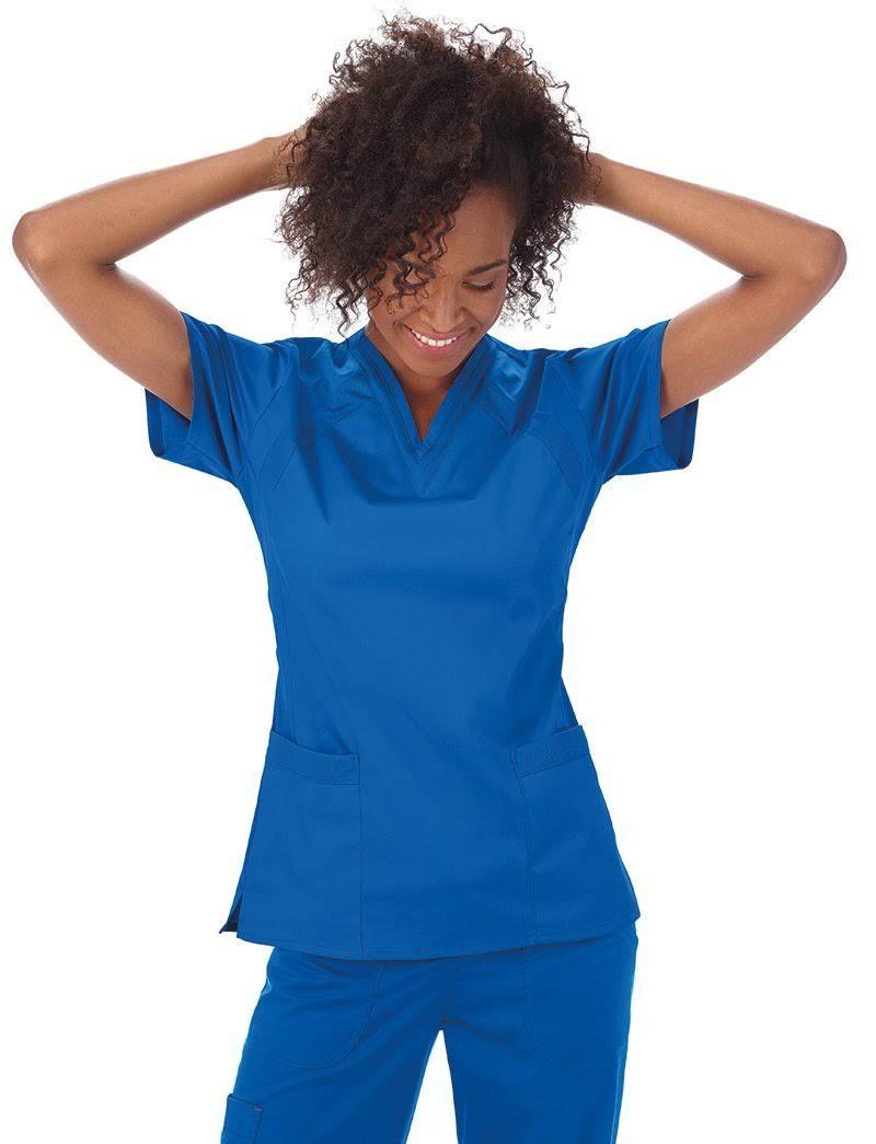 Pico Malla Gris Cuello Con Solid Blusa En Mujer Para De Médica 8WxP1p