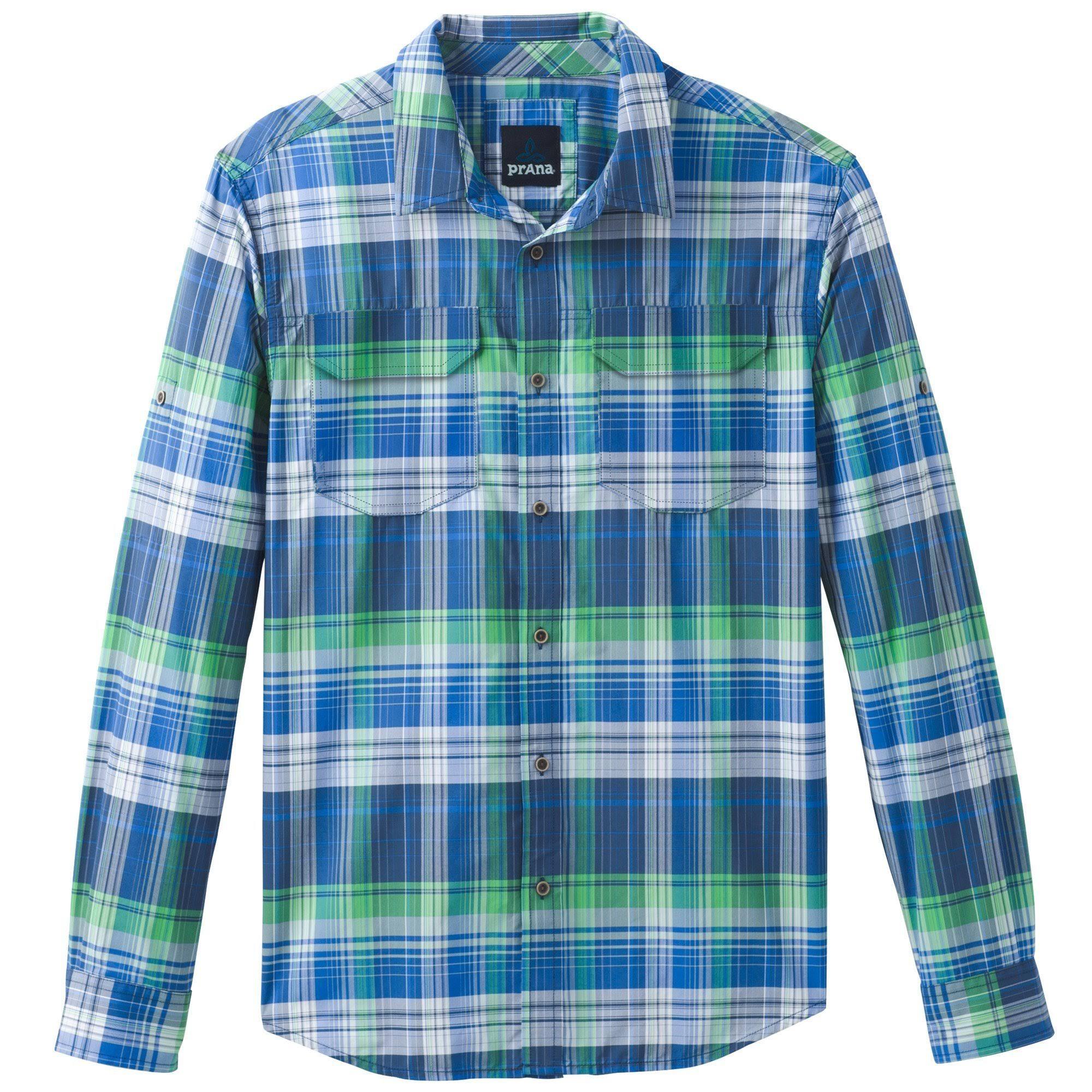Prana Azul Plaid Camisas S Larga Manga Hombres Citadel Los De Equinox wr7qwB
