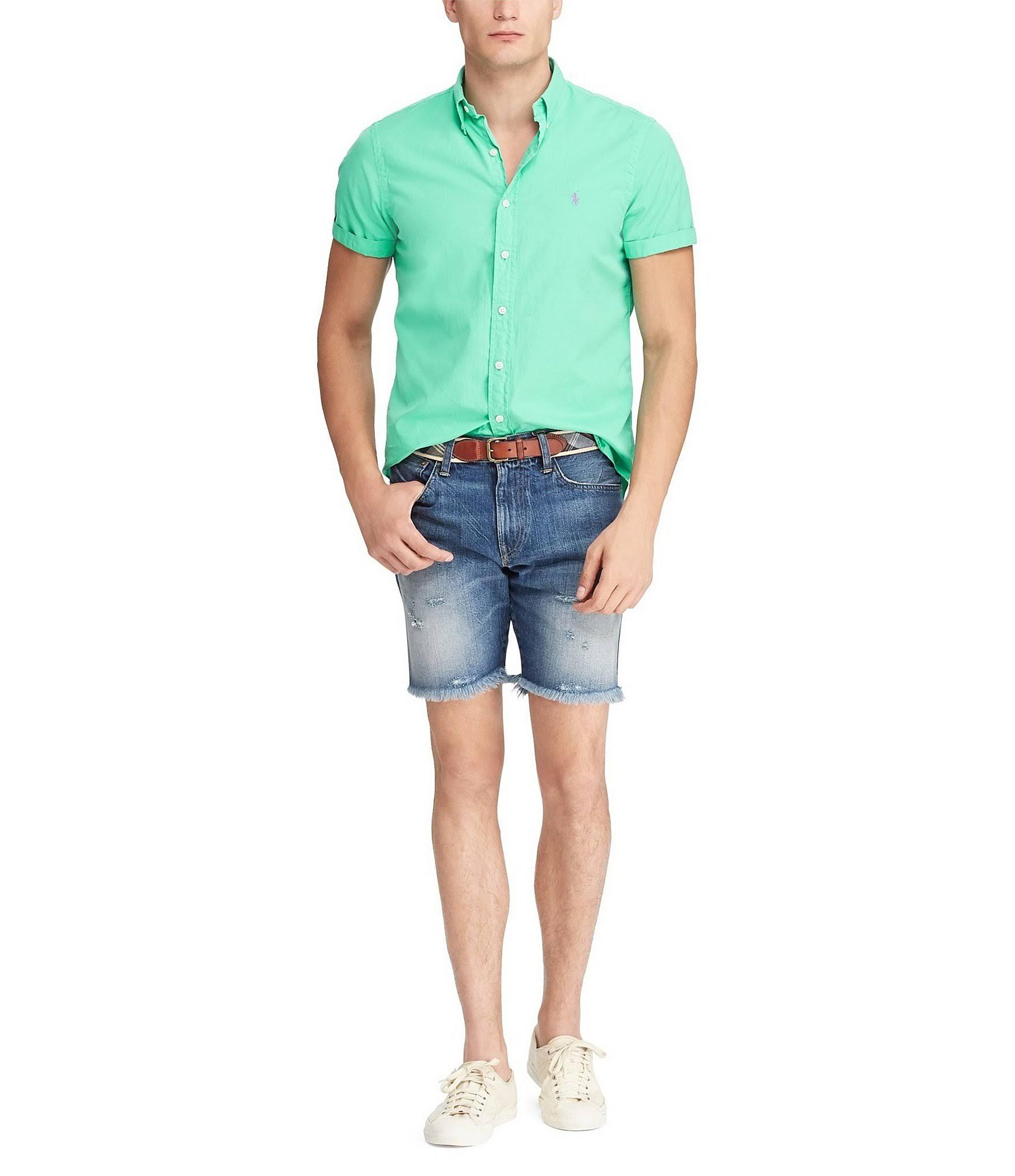Clásico Lauren Camisa De L Polo Ralph Hombre Botones Manga Tamaño Para Sunset Verde Corta Corte Con zqfTfxw5