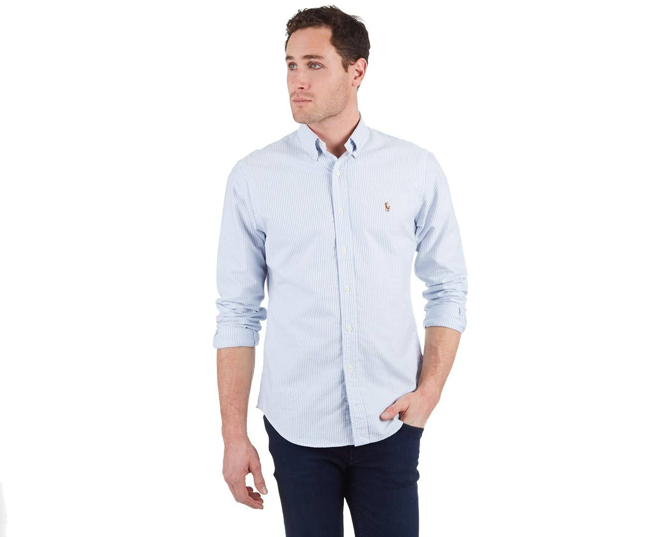Azul Rayas Lauren Fit Ralph De Para Polo Camisa Hombre Blanco s Slim aqvtwna6