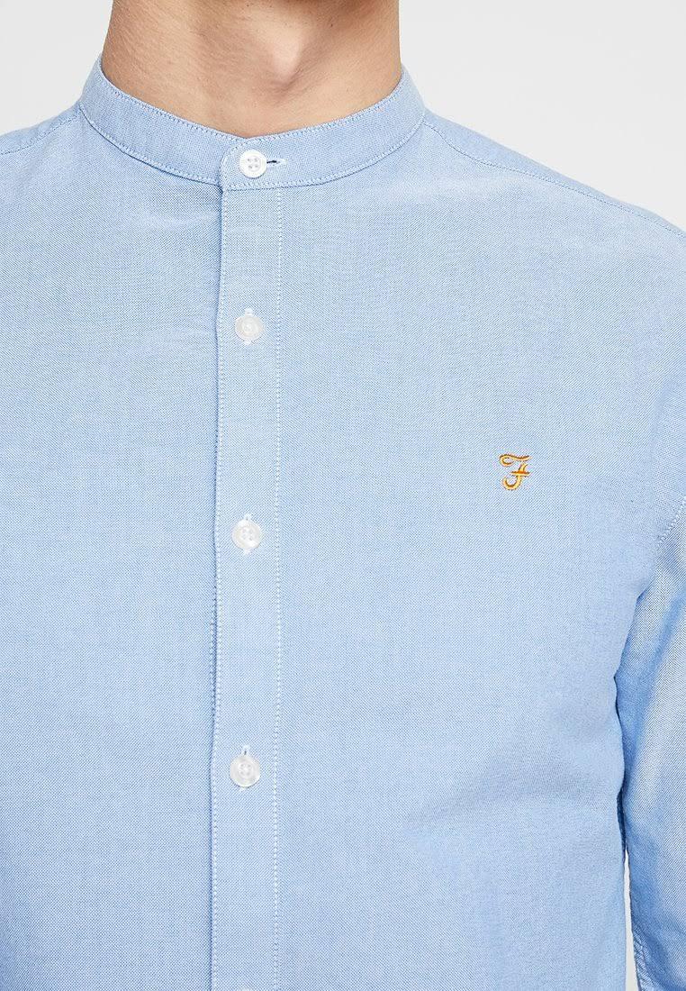 Hombre Azul Xxl Farah Shirt Brewer Grandad Tamaño Mid qgfxpI7w0