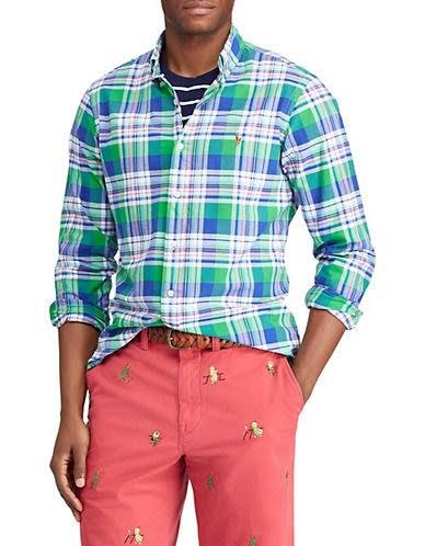 Camisa Cuadros Para Lauren De Corte Tamaño Verde Xxl Clásico Ralph Polo Hombre Oxford A z8qEfw