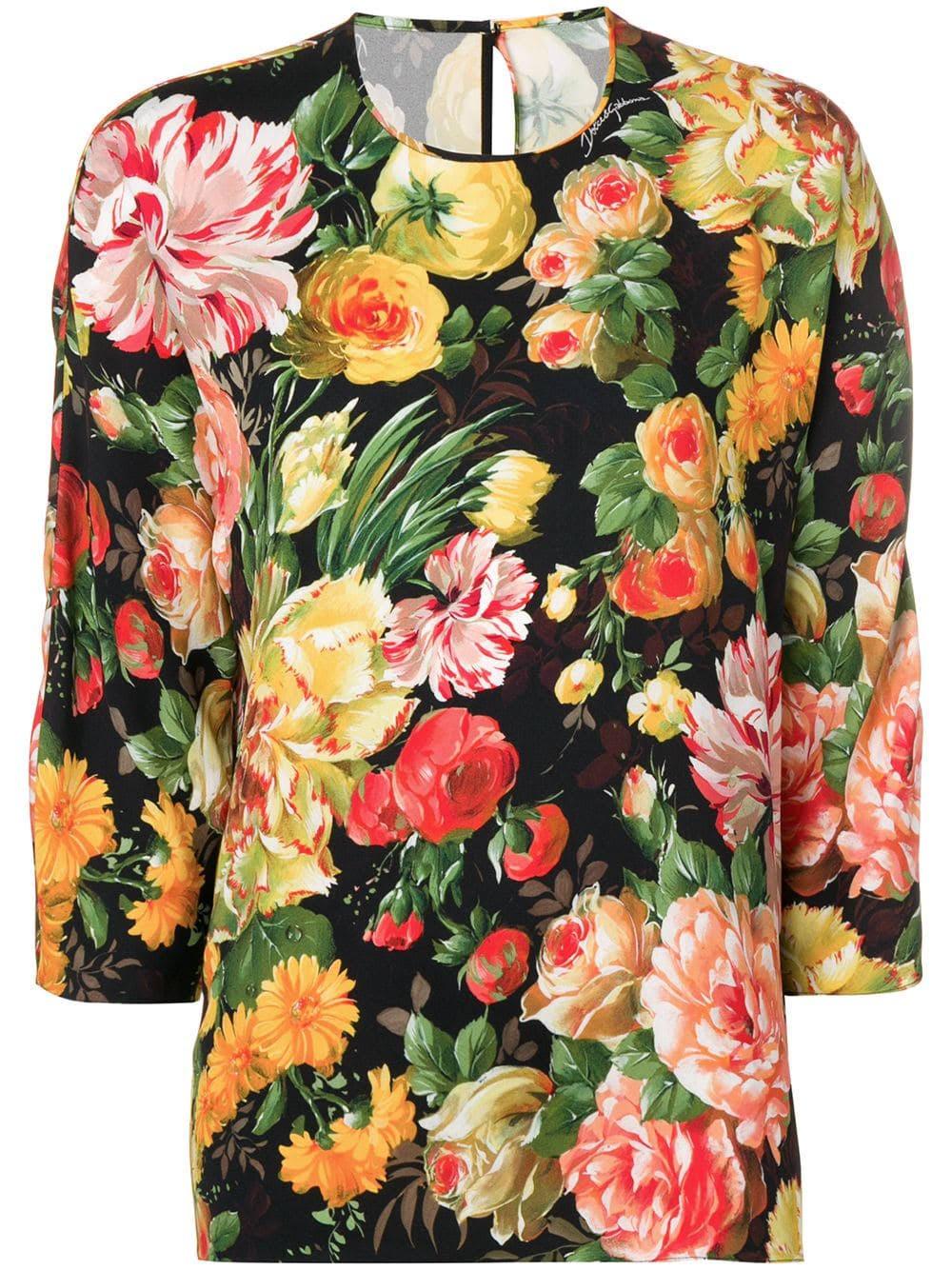 Dolce Gabbana top Crêpe Blumenmuster Mit amp; nvYwvr7q