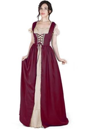 Traje Arena Boho Vestido Borgoña Irlandés Set Sobre Y Medieval wxCS6H5q
