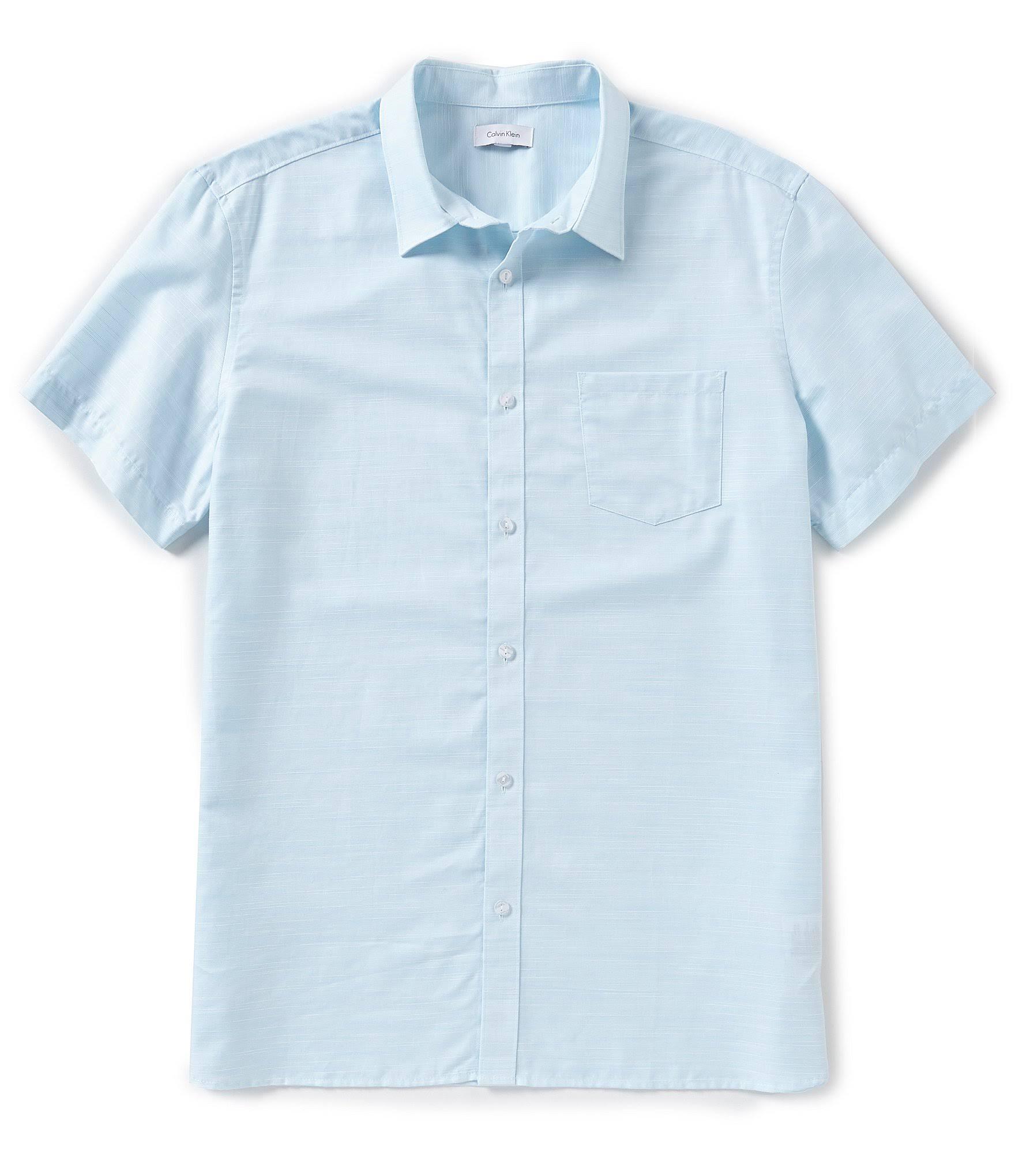Topas Gewebtes Blauer Calvin Solides Kurzärmliges Hemd Klein M qxwxOYpt