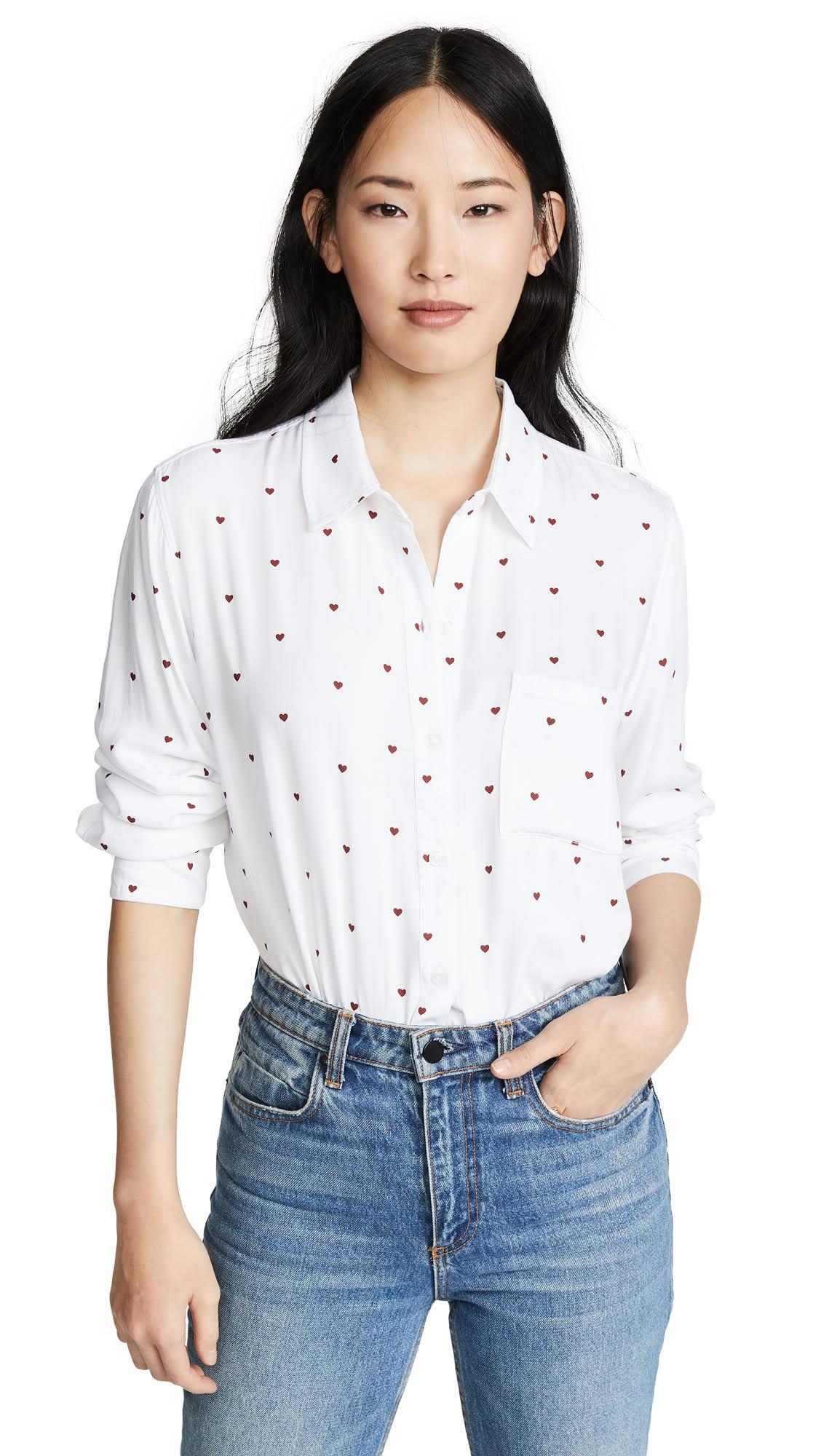 Estampado Mujer Rojo Blanco Para Con Tamaño De Rails Grandes Corazones Camisa Algodón BHFtqwRp