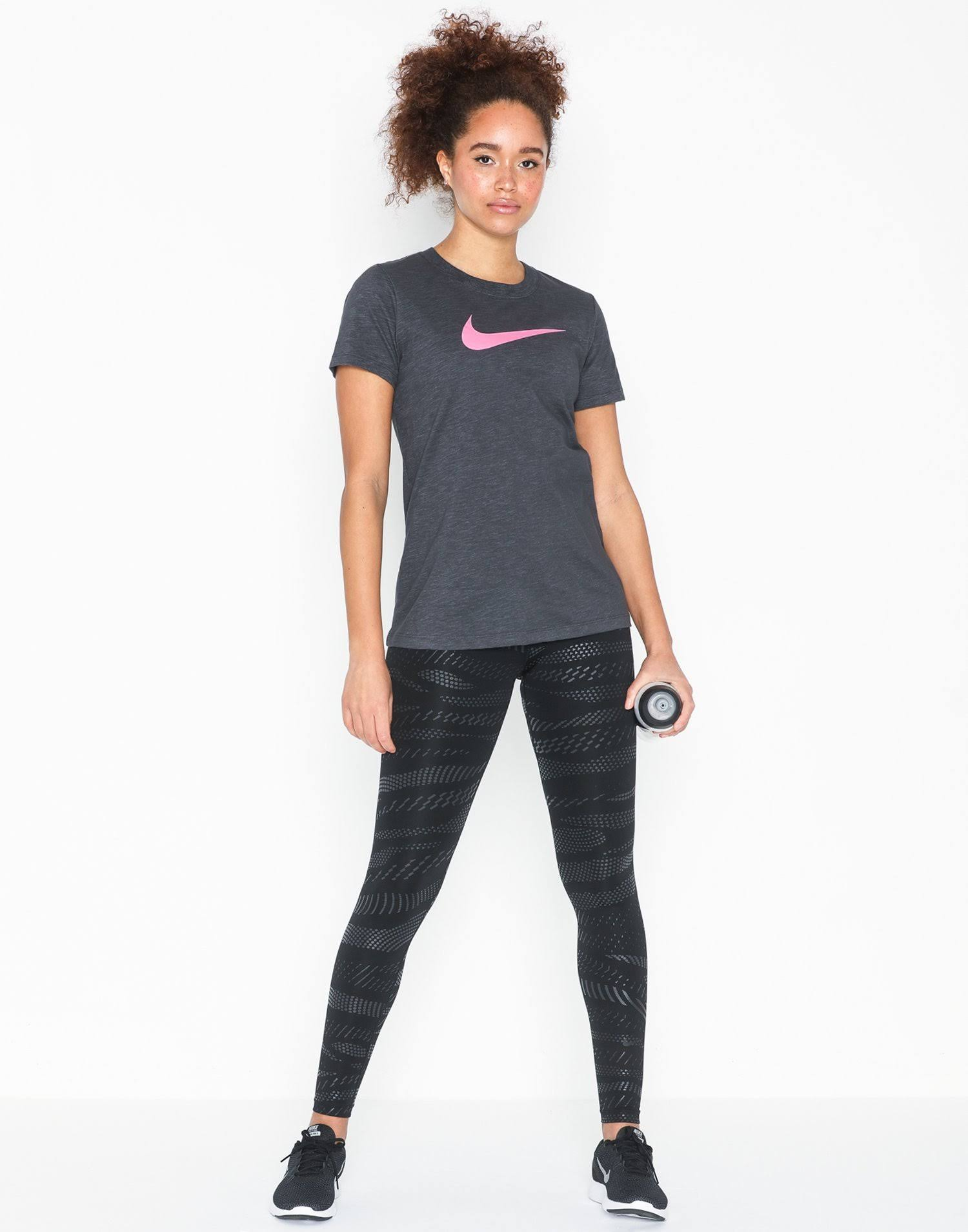 Women's Nike Dri-Fit Cotton Mix T-Shirt With Crew-Neck & Tick Logo in Grey