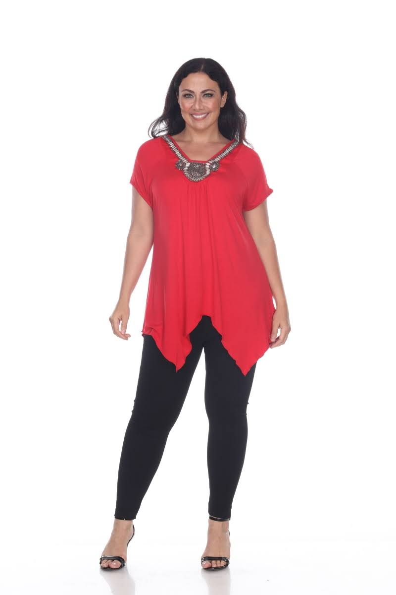 Tunikaoberteil Zeichen 09 Rot Fenella 3xl Ps1288 Damen size 3x Plus Weißes q6w8dS6
