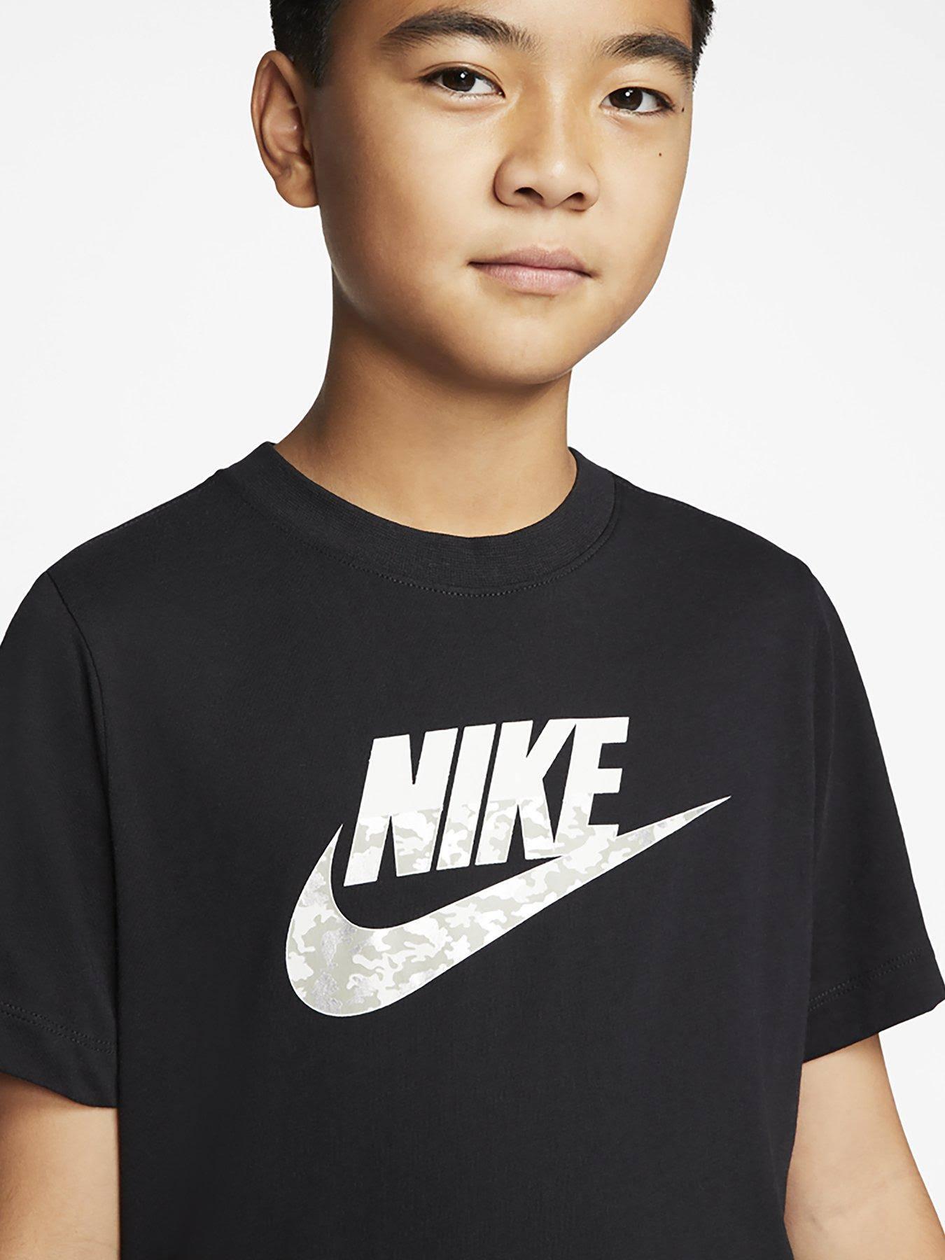 Nike Sportswear B NSW TEE Futura CAMO Print Tshirt, gender.teen.male, Size: 6-7y, Black