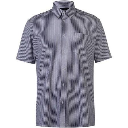 Camisa Seer Blanco Hombre Corta Pierre Rayas Para Manga Azul De Marino A Cardin 1Uq0rw71x