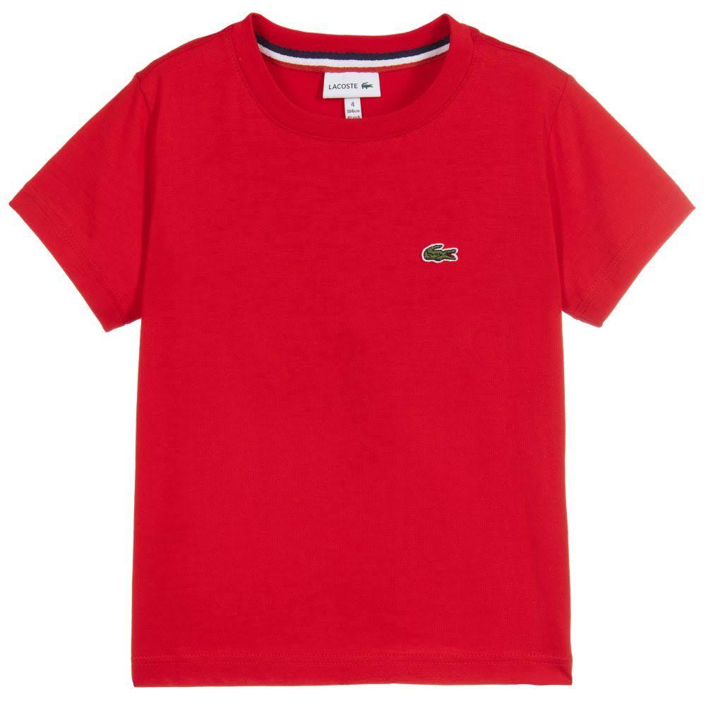 Algodón Lacoste Camiseta De Roja Boys 5f1Sqw