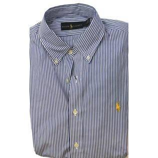 Camisa Nwt A Casual De Los Hombres L Lauren Rayas Azules Ralph Vestido nXSHSxEr