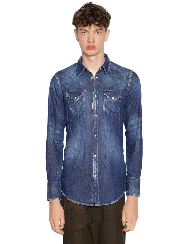 Western Blanqueados Hombres 50 Shirt Denim Dsquared2 Algodón Azul xAWFvqpfnw