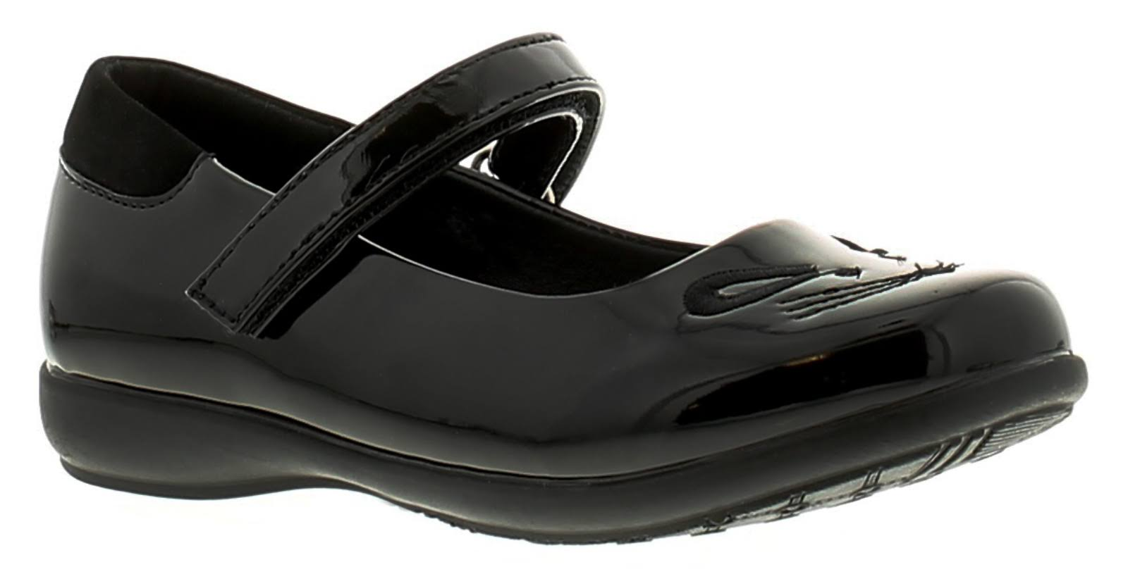 Princess Stardust Mousey Girls Black Touch Fastening School Shoes, Size: 7