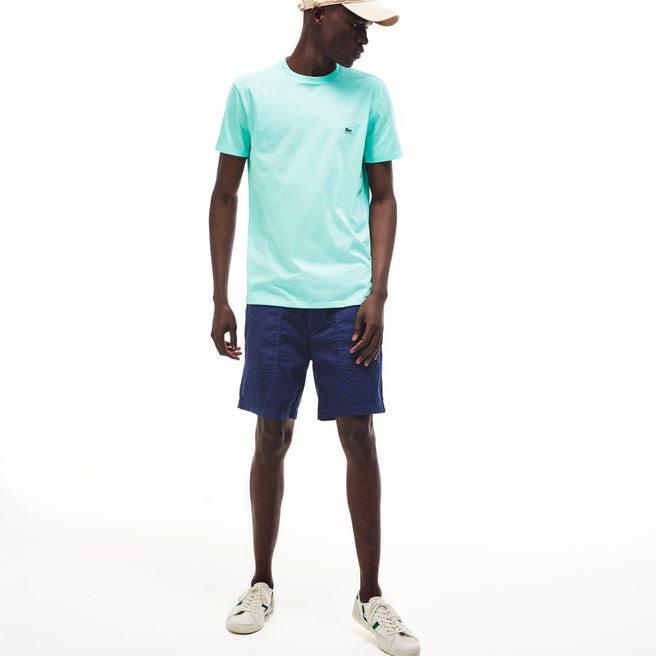 shirt Rundhalsausschnitt Aus baumwolle T Mit Lacoste Herren L Grün Pima xAIEqn