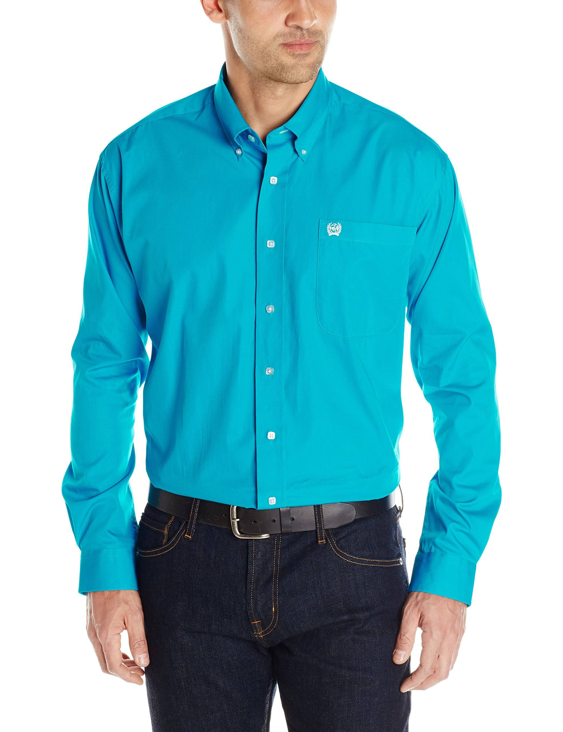 Solid Mtw1103800 Down S Cinch Teal L Button Hombre Shirt Western nOpSP