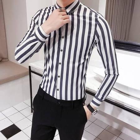 Langärmlige Shirt Fashion Vertical Hochwertige English Costbuys shirt Slim Gentleman Business Hemden casual Blau Stripes S Men Strumpfhosen FqIwOzyw