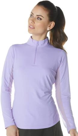 shirt Lavender mock zip Damen Ibkul sun Langarm HxYUWqwRI6