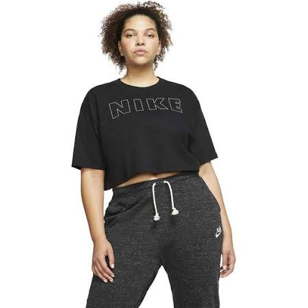 Nike Air Plus Size NSW Crop Tee, Black, Size 22-24=2X, Women