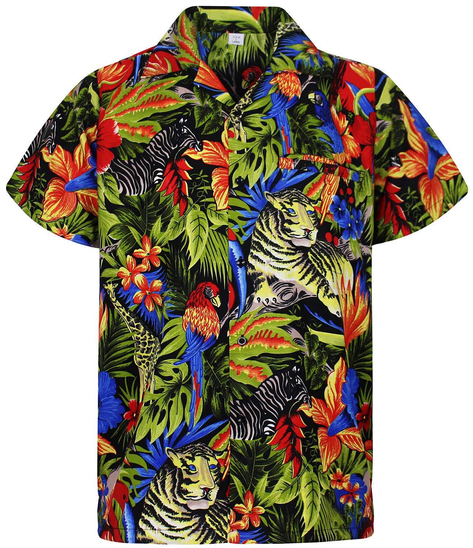 Cosecha Selva La Flores Hawaiana En o Hombres Impresión Playa h Funky Delantera Parte Camisa V Negro Shorts P6Z8w