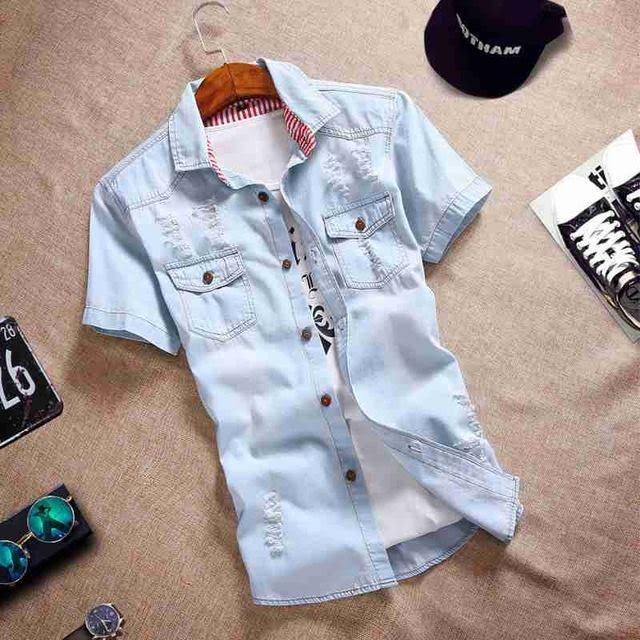 Casual Color Manga Costbuys Jeans Fit Vaquera Xxxl Camisa Slim Gris Camisas De Oscuro 3 En Hombre Corta Moda tvwHORv