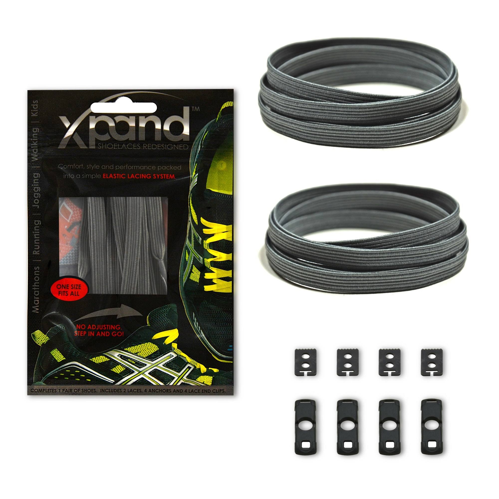 Xpand Laces Customizable No-Tie One Size Elastic Shoelaces Gray