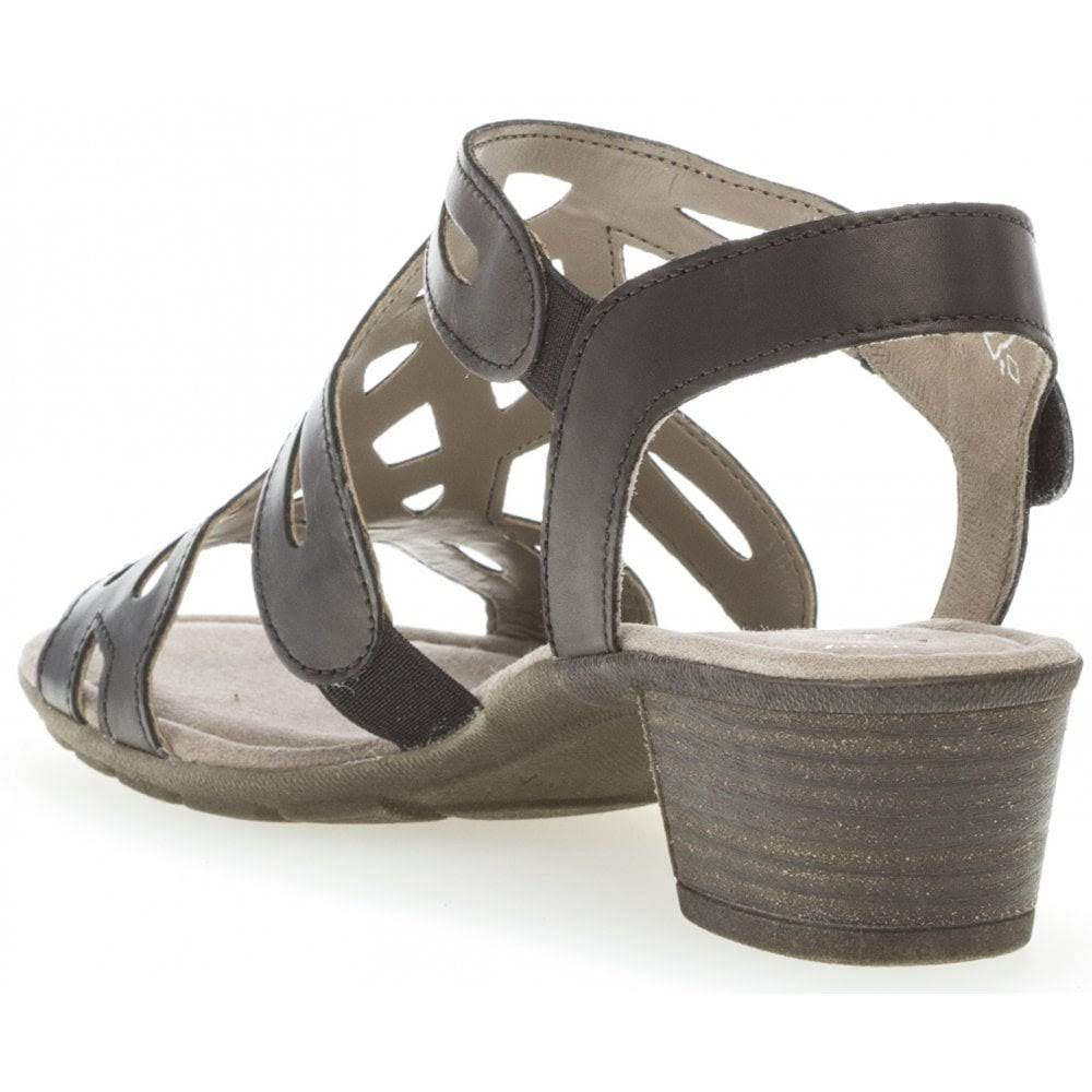 Gabor Strap Sandals Women Black Size 6 Leather  DX687C