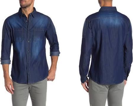 Entallada Delgada De 2xl Ajustada Azul Para Hombre A Camisa Mezclilla Recreativas Medida Actividades Ud7wqRRx