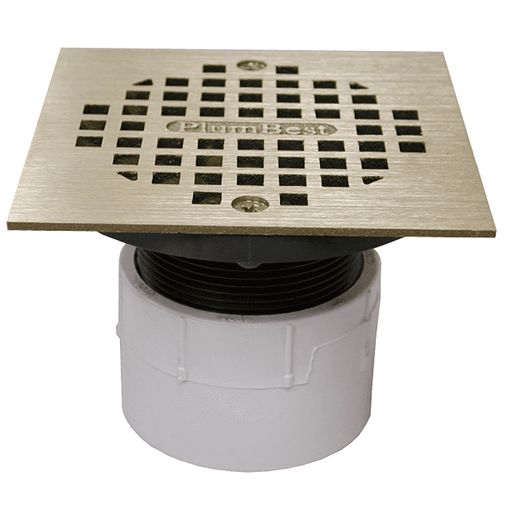 "Jones Stephens, D53298, 2"" Over Pipe Fit Drain Base with 2"" Plastic Spud 4"" Polished Brass Strainer PVC, M78289"