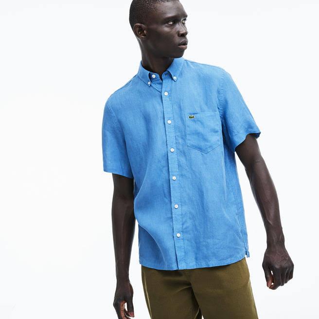 Para Ajuste Lacoste Camisa Lino Regular Turquin Hombre De Azul Zxn1F6fz