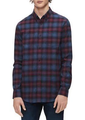 Hombre Para Ajuste Con Scarlet Klein De Calvin Deep L Cepillada Regular Camisa Franela 8fZzcwRAq