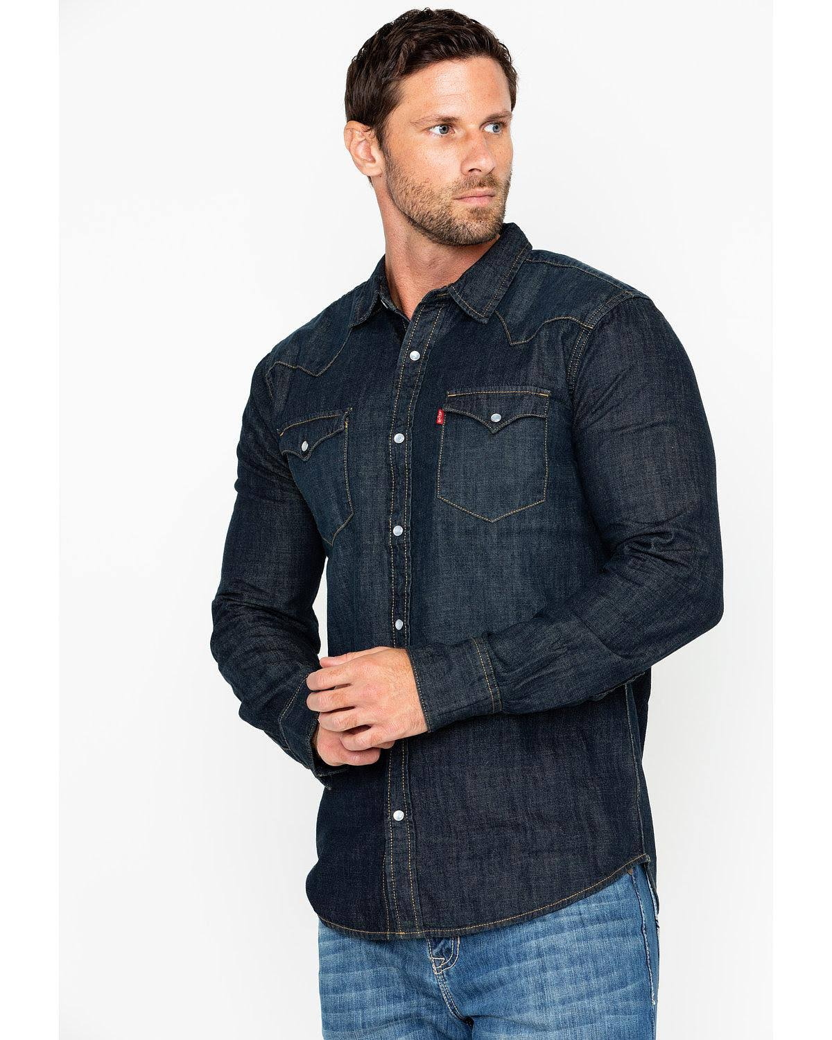 Barstow up Denim Levi's Shirt Western Para Snap Hombre 8qZCFw