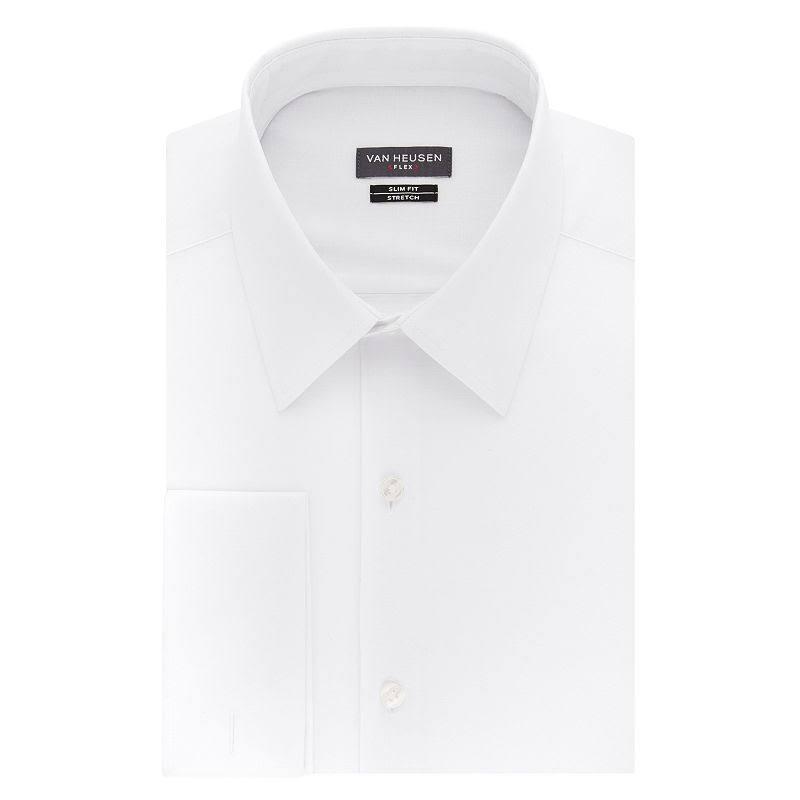 Heusen 32 Weiß Cuff Langarm Kragen hemd Fit 15 33 French Weiß twill Flex Slim Van Herren 4ZTUdpcd