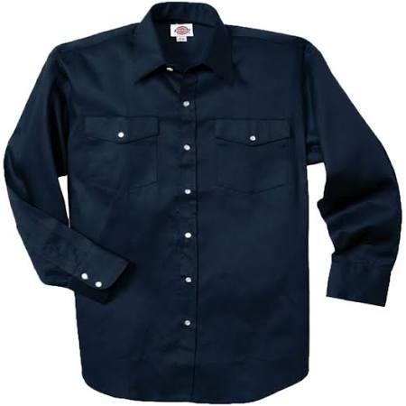 Dickies Camisa 1221 Larga Con Trabajo Marino De Oscuro Manga Frontal Grande Cierre Azul fqrwOFHxw0